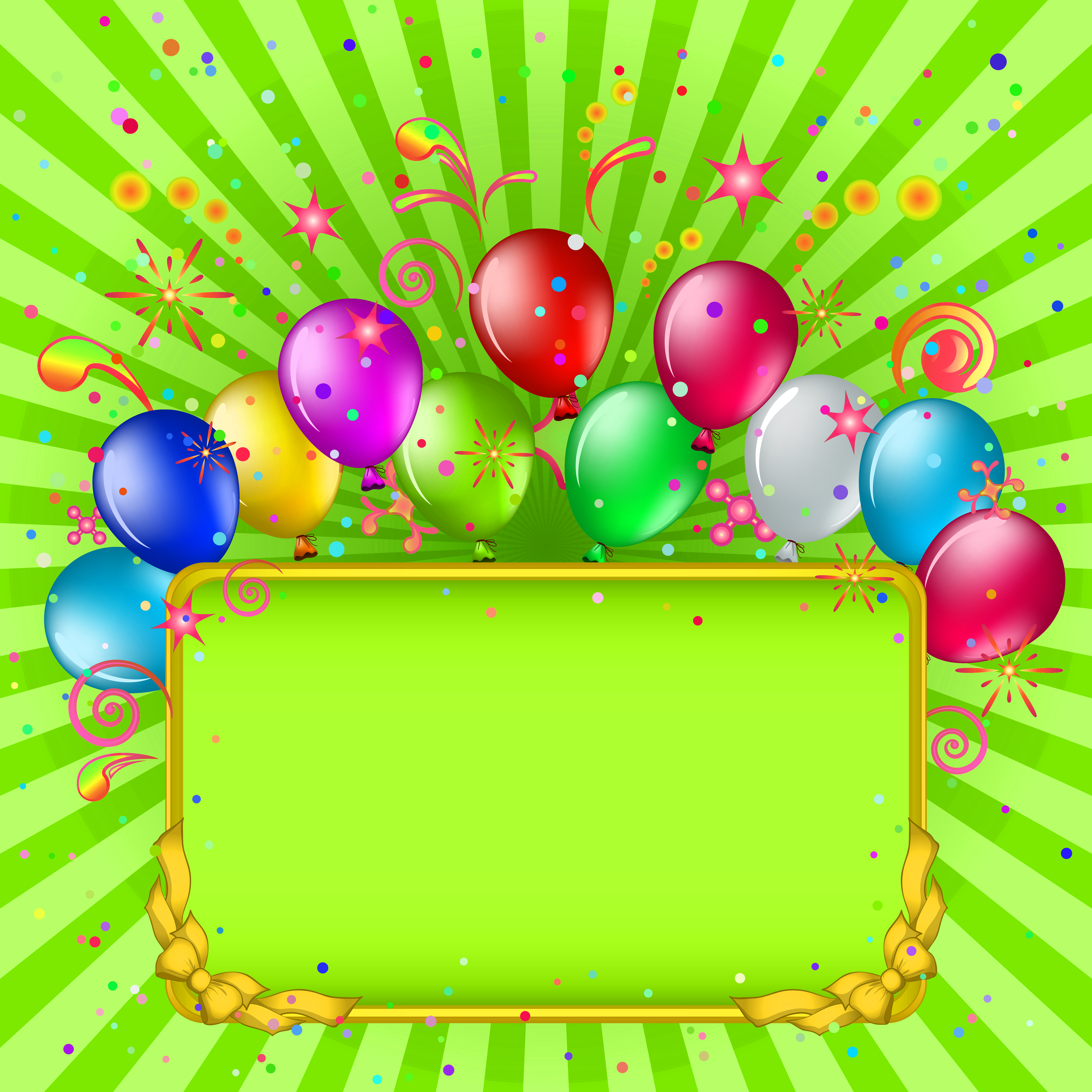 Green Birthday Background with Balloons.