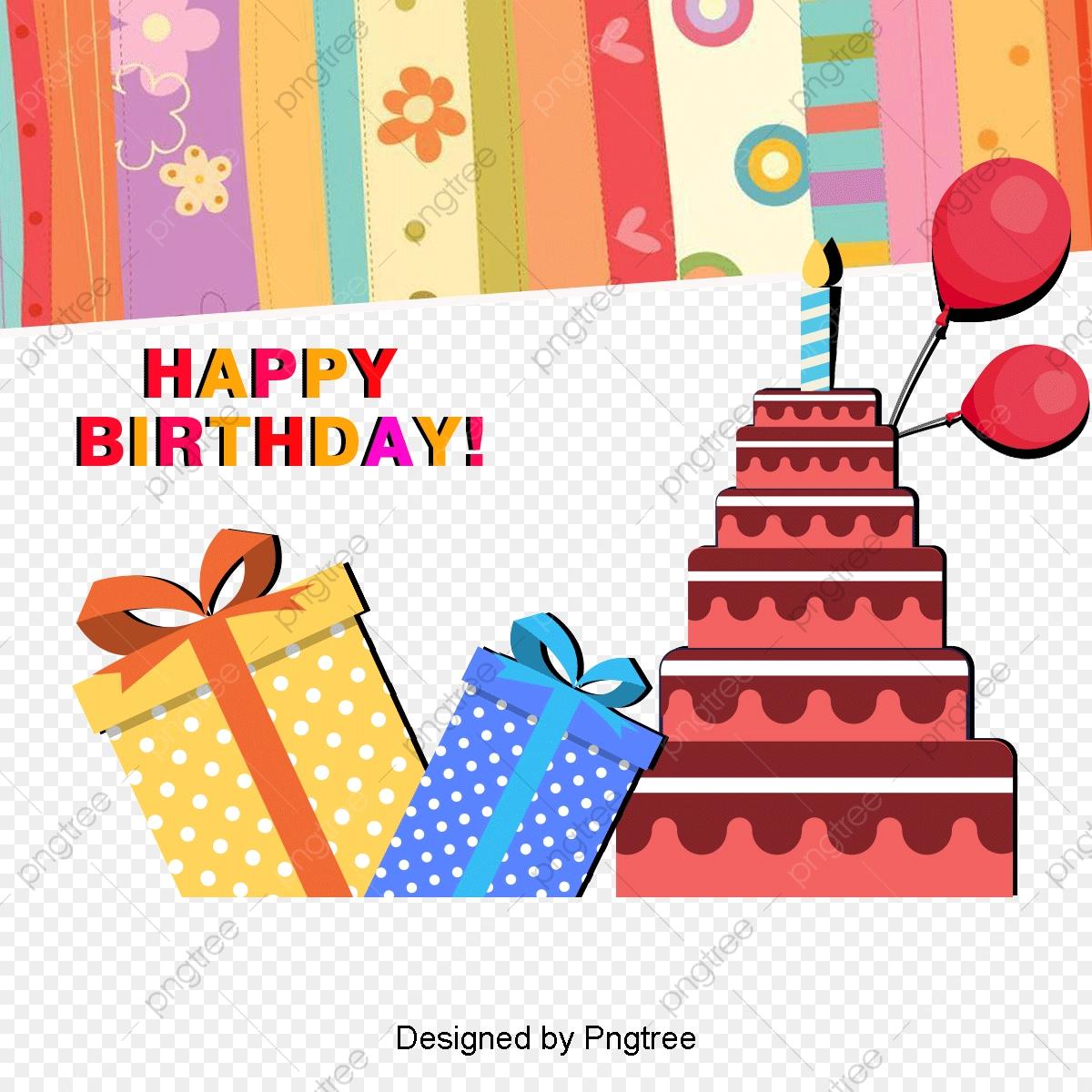 Cartoon Happy Birthday Background, Background Clipart, Happy.