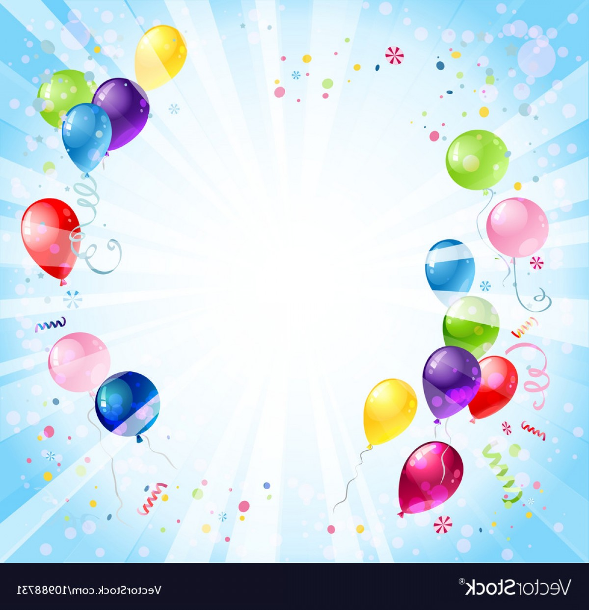 Birthday Background With Balloons Vector.