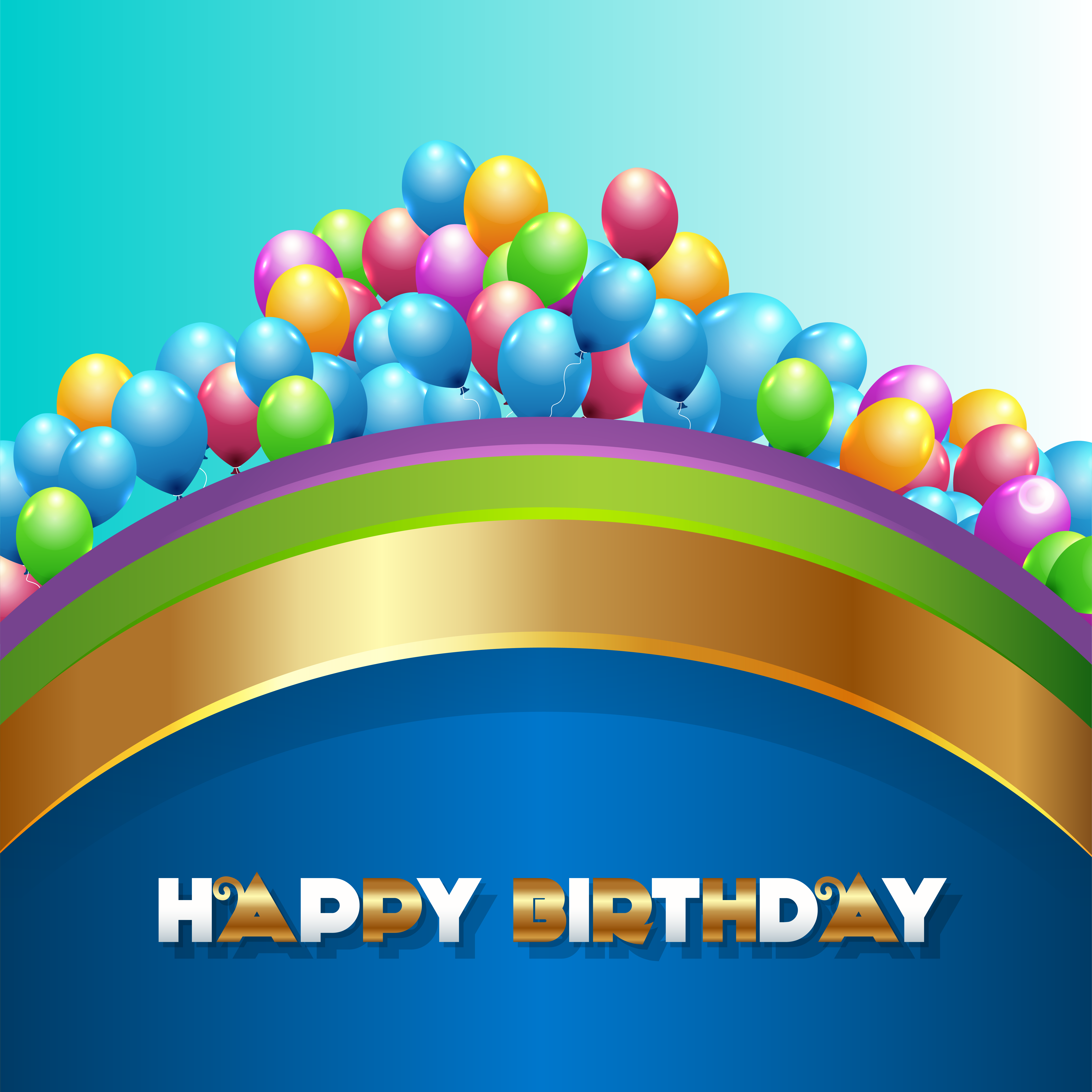 Blue Happy Birthday Background with Balloons.
