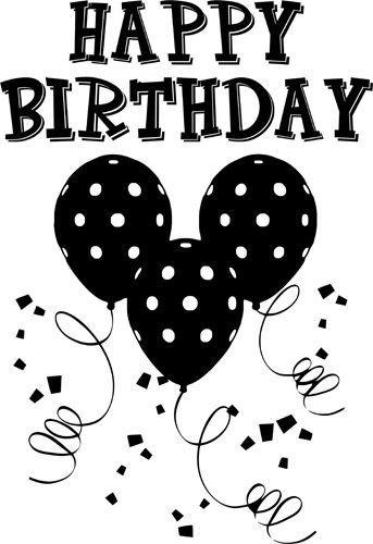 Happy birthday balloon clipart black and white » Clipart Portal.