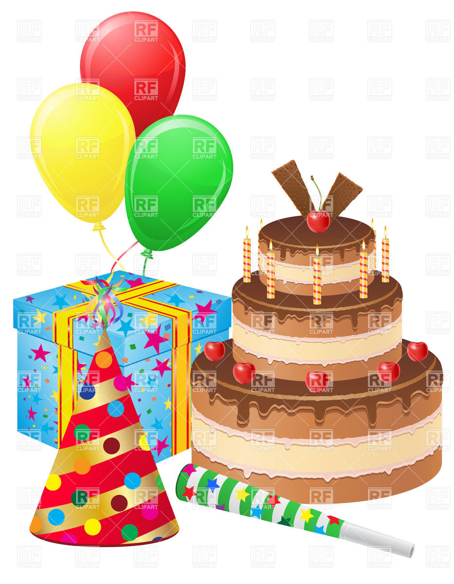 Birthday Cake With Balloons Clipart.