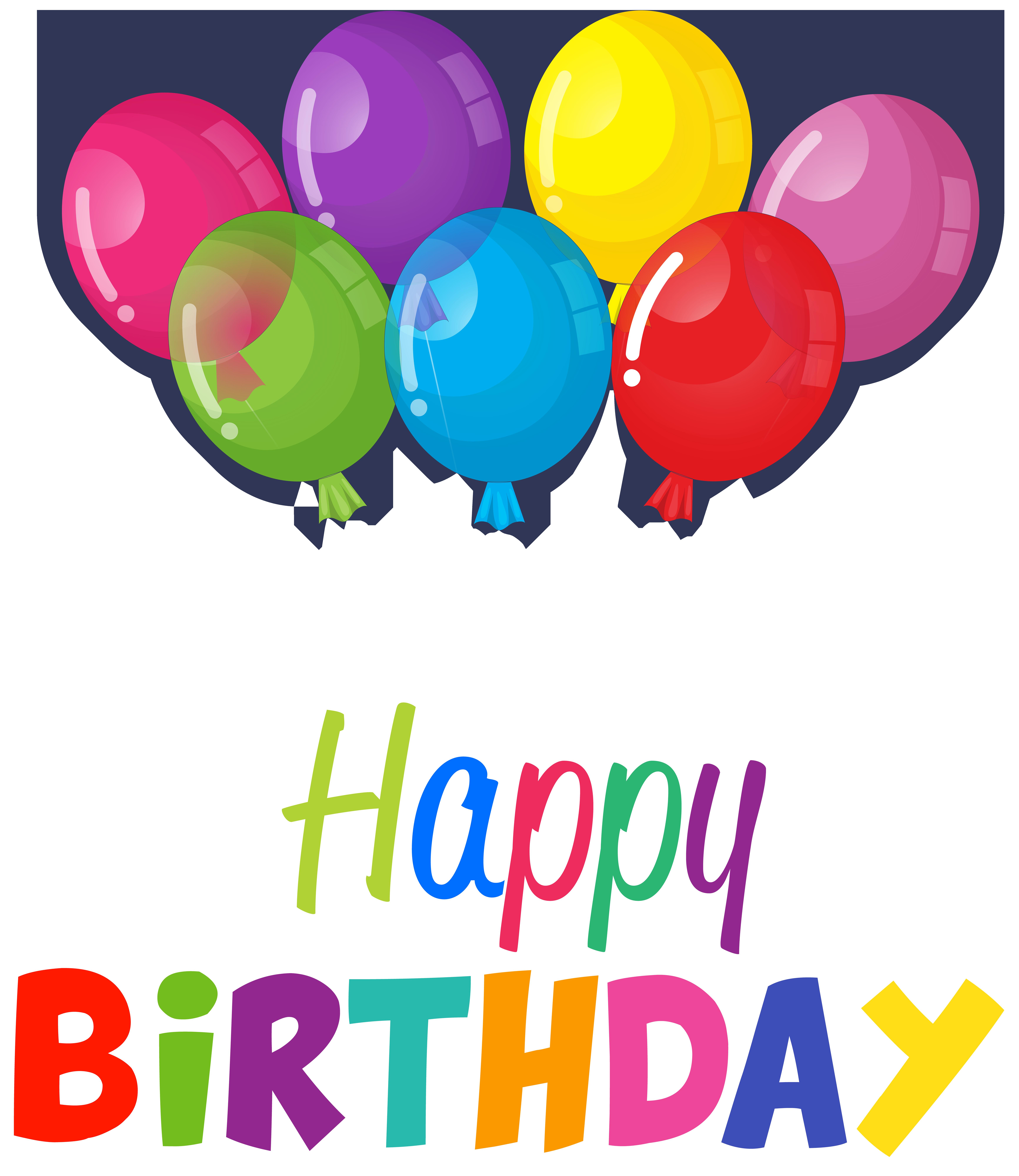 Happy Birthday Balloons Clip Art PNG Image.