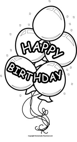 Download happy birthday balloon black and white clipart Balloon.