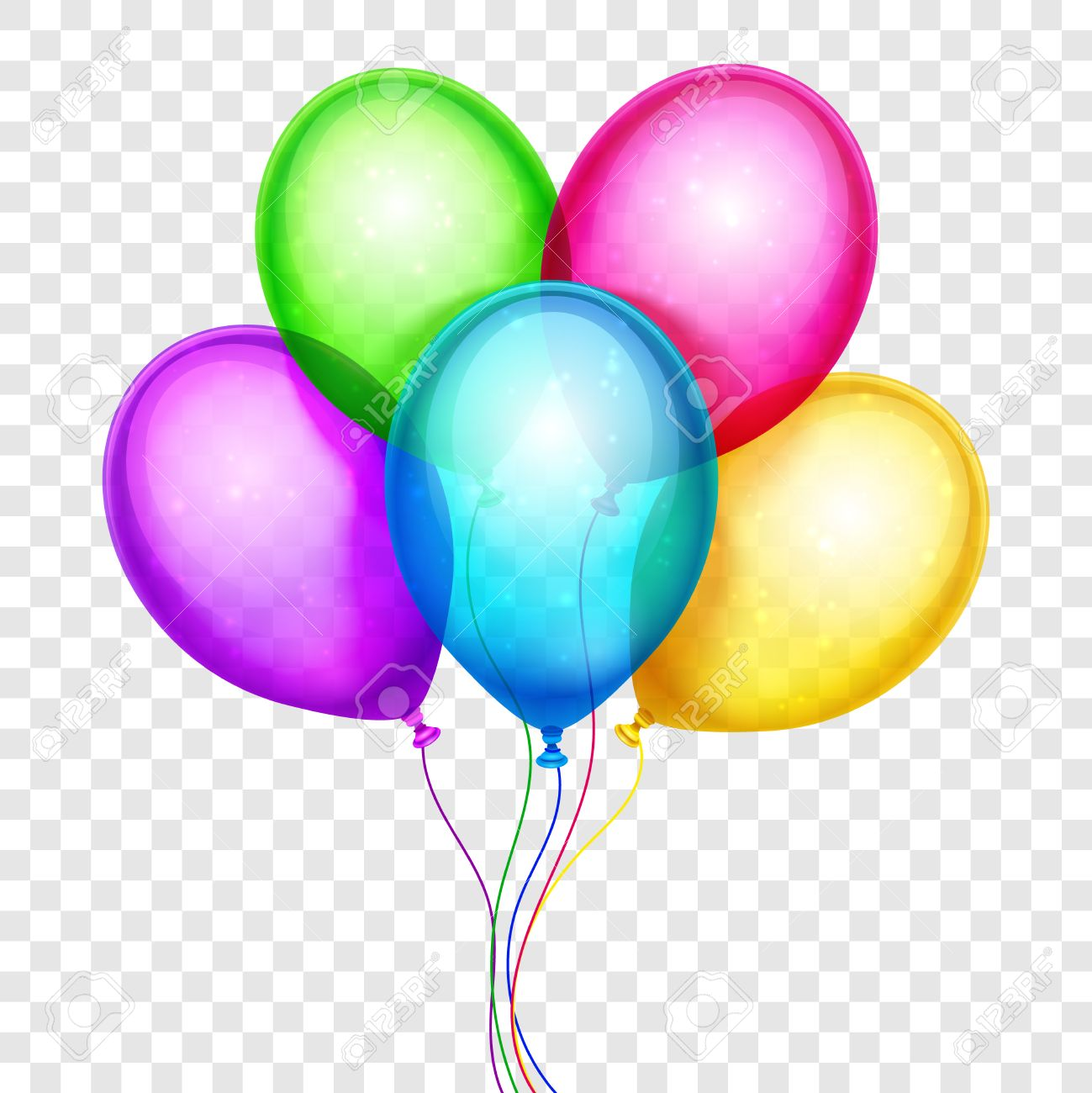 Birthday Balloons Clipart Transparent Background.