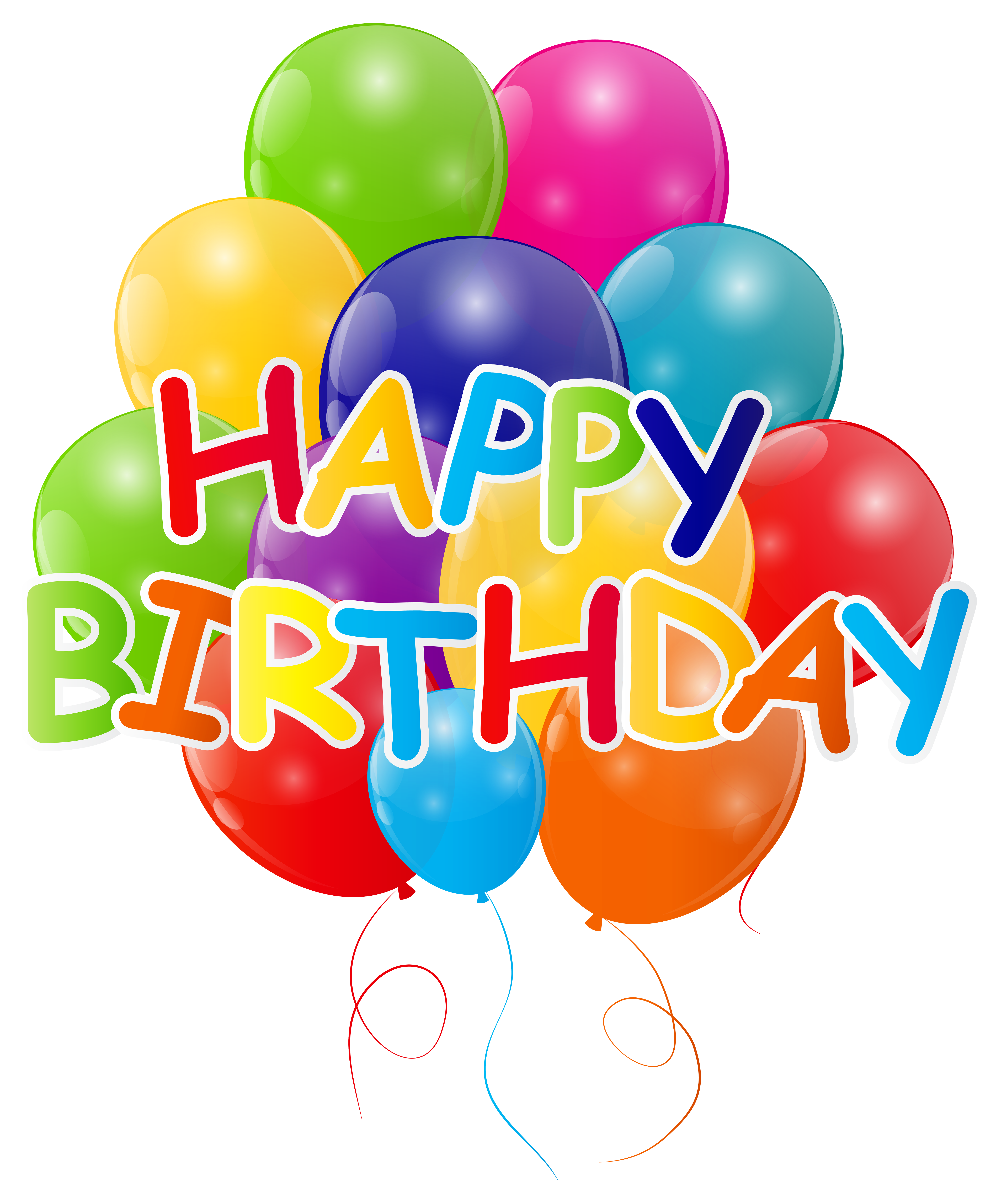 Happy Birthday with Bunch of Balloons PNG Clip Art Image.