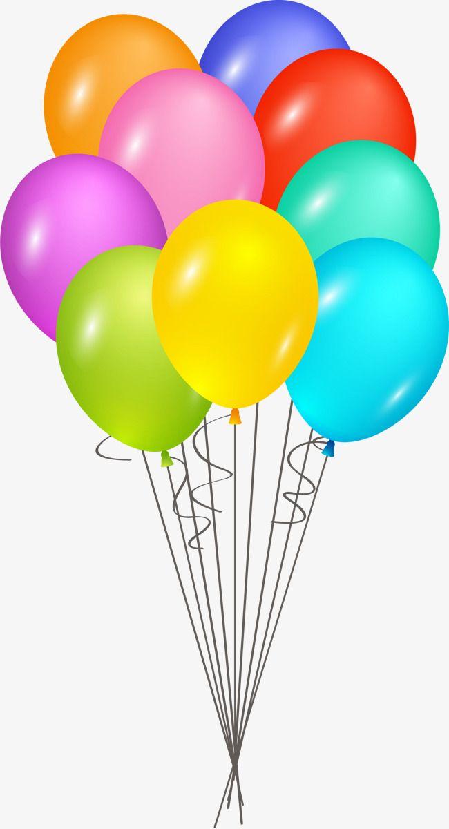 Color Cartoon Happy Birthday Balloon, Cartoon Clipart, Hand Painted.