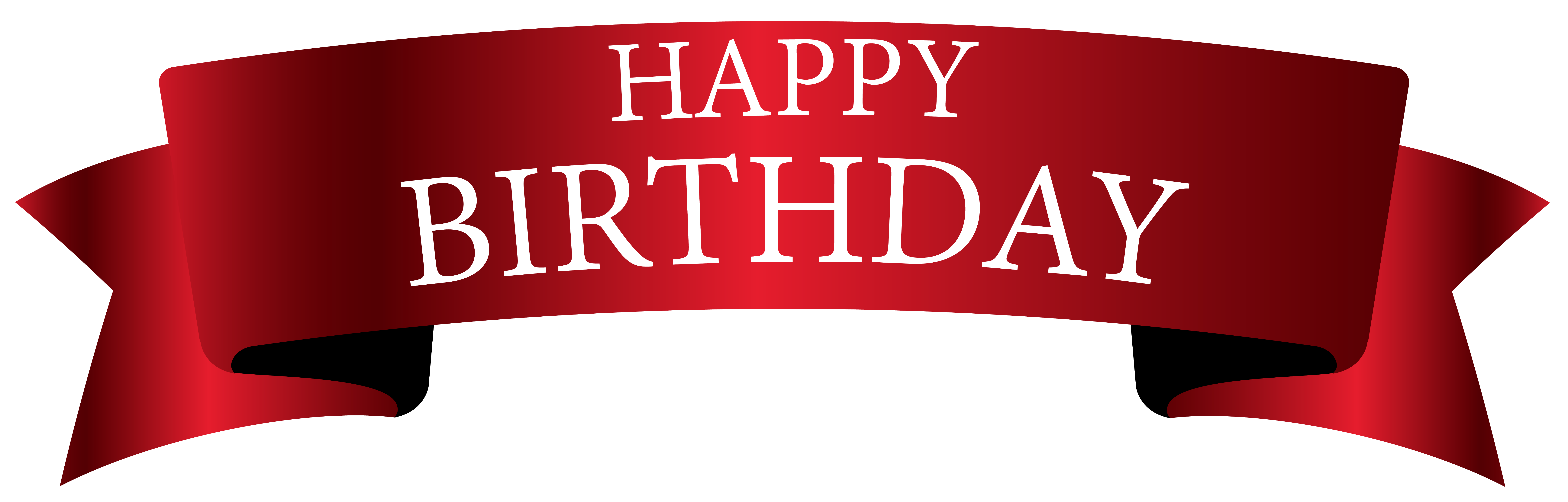 Red Birthday Banner PNG Clipart Image.