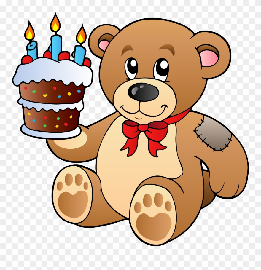 Birthday Cake Teddy Bear Clip Art.