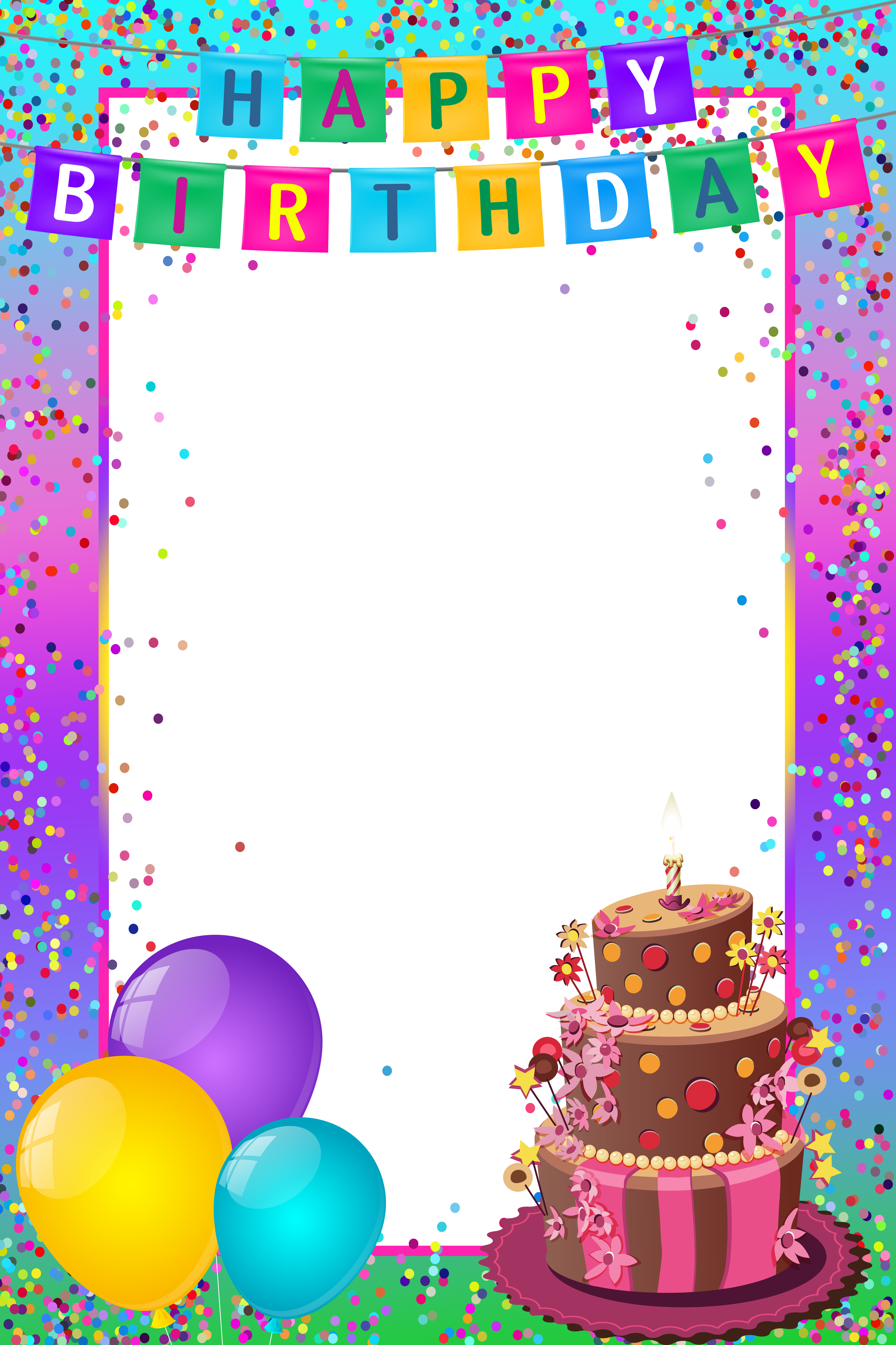 Happy Birthday PNG Transparent Multicolor Frame.