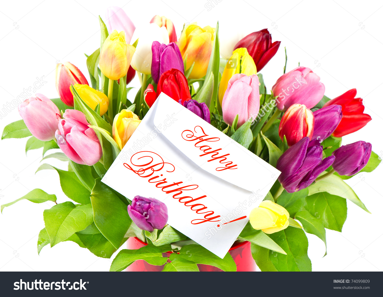 Happy Birthday Colorful Bouquet Fresh Tulips Stock Photo 74099809.
