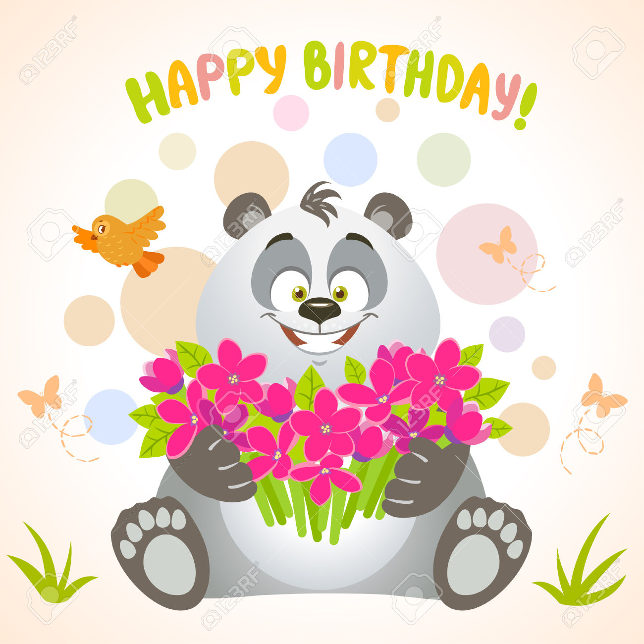 Beautiful Birthday Card. Cartoon Cute Happy Panda With Big Bouquet.
