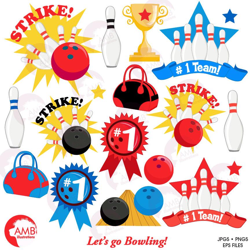 Bowling Night Clipart, Bowling Clipart, Bowling Ball, Pins, Ball, Sports,  Birthday Party Invitations, AMB.