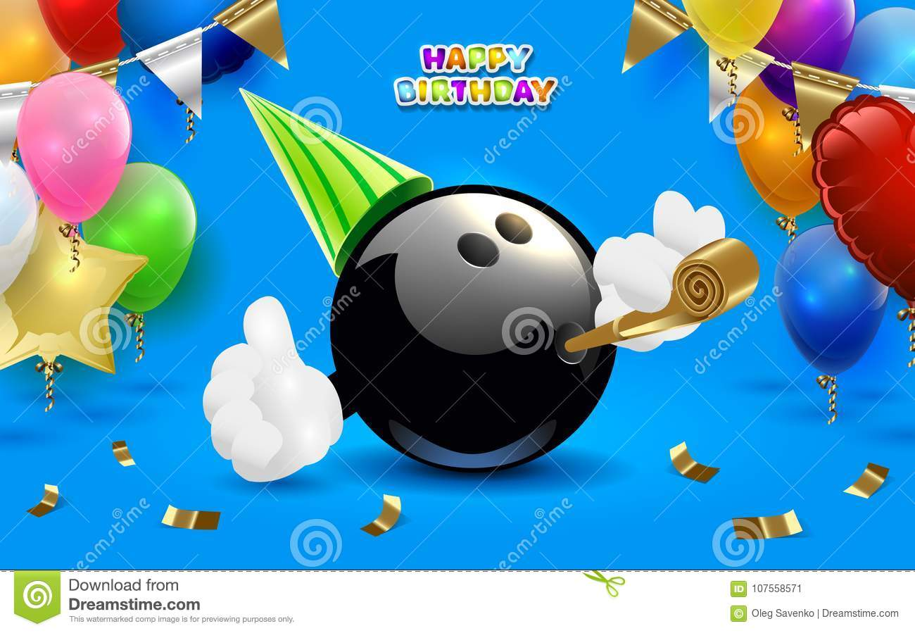 Bowling Happy Birthday Party. Vector Clip Art Illustration Stock.