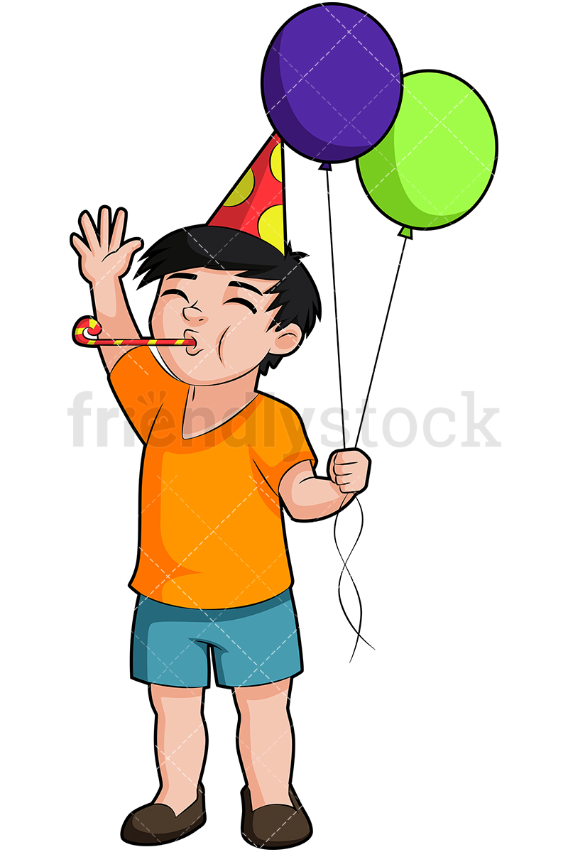 A Birthday Boy Holding Balloons And Blowing A Party Horn.