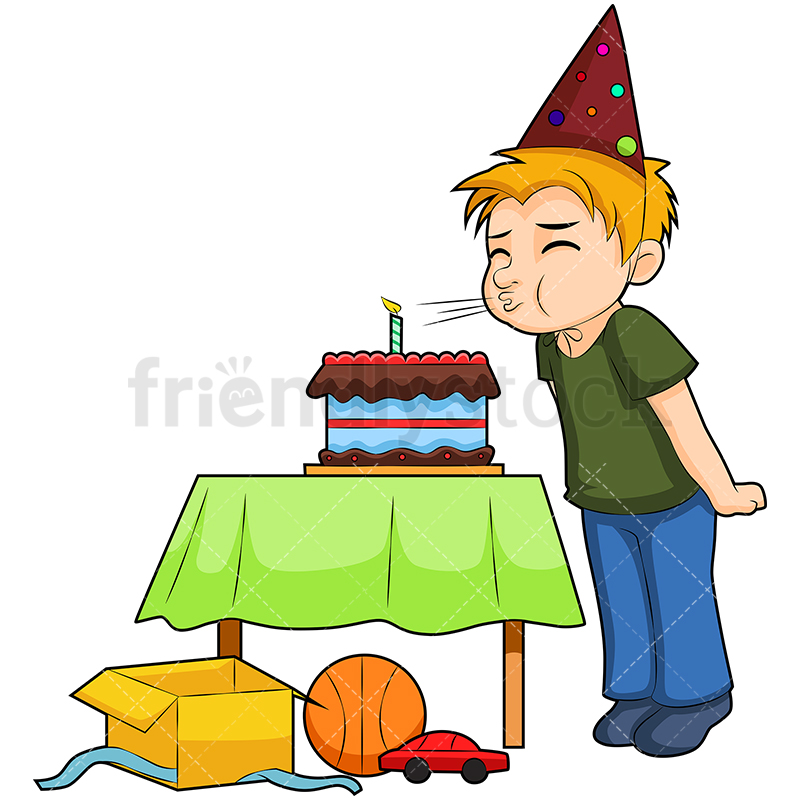 A Little Boy At His Birthday Party Blowing A Candle On The Cake.