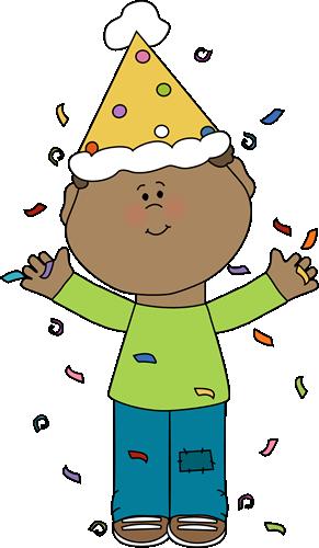 Birthday Boy with Confetti Clip Art.