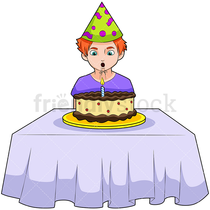 A Boy Wearing A Birthday Hat Blowing Out Candle On The Cake.