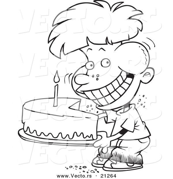 Vector of a Cartoon Birthday Boy Eating an Entire Cake.
