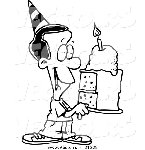 Vector of a Cartoon Black Birthday Boy Holding a Slice of Cake.