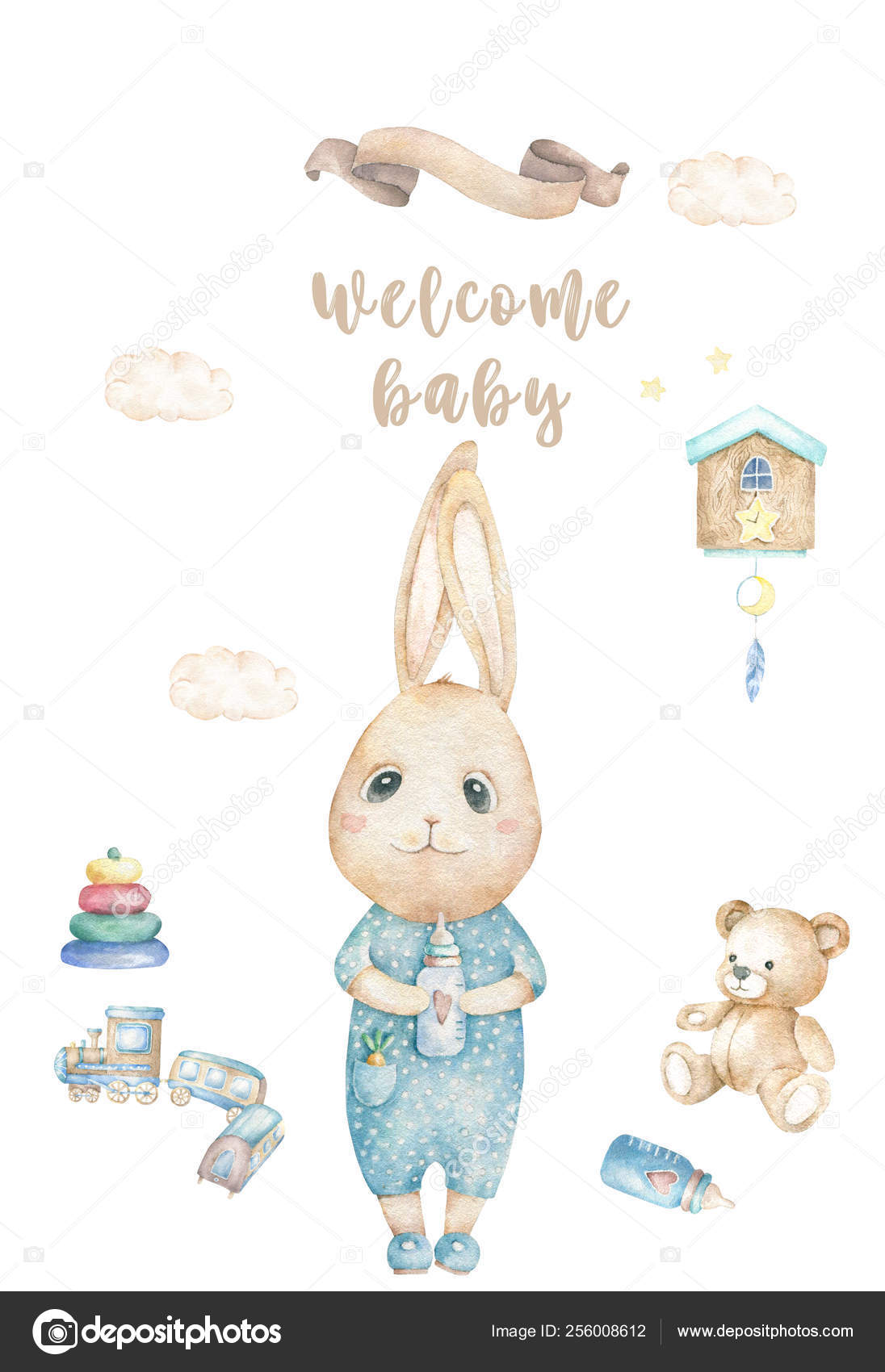 Watercolor isolated cute watercolor Bunny clipart. Nursery rabbit.