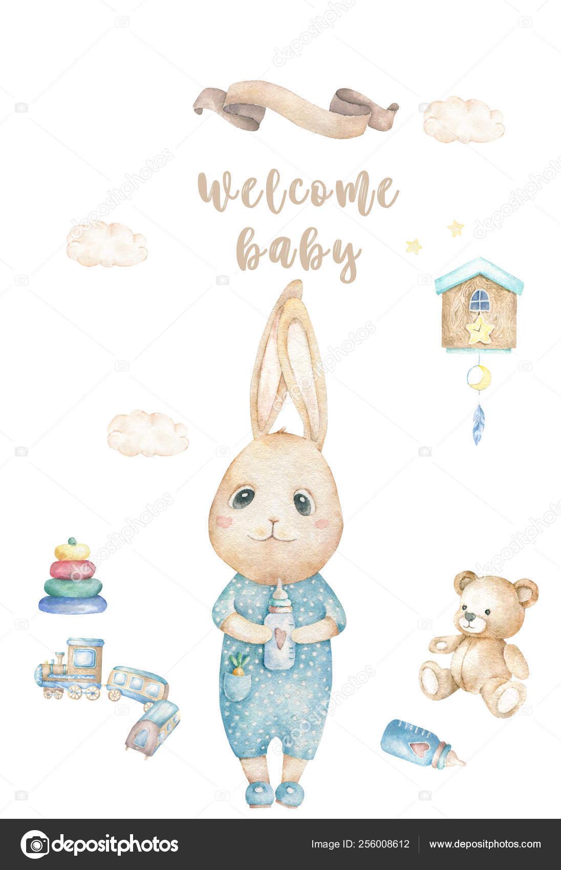 Watercolor isolated cute watercolor Bunny clipart. Nursery rabbit.