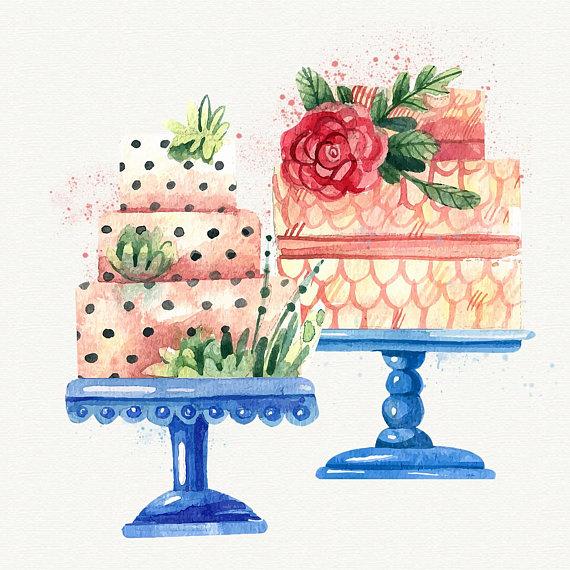 Watercolor Cake Clipart Birthday Cake clip art Watercolor.