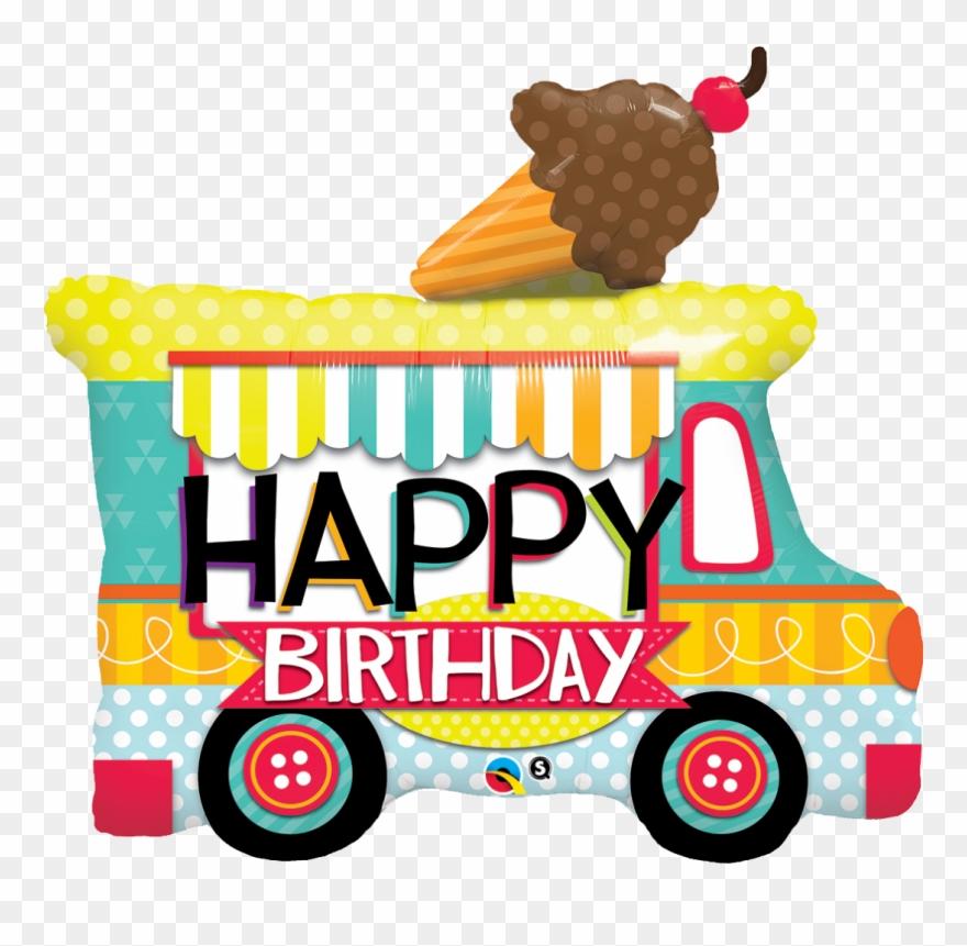 Adorable Ice Cream Truck Shaped Birthday Balloon.