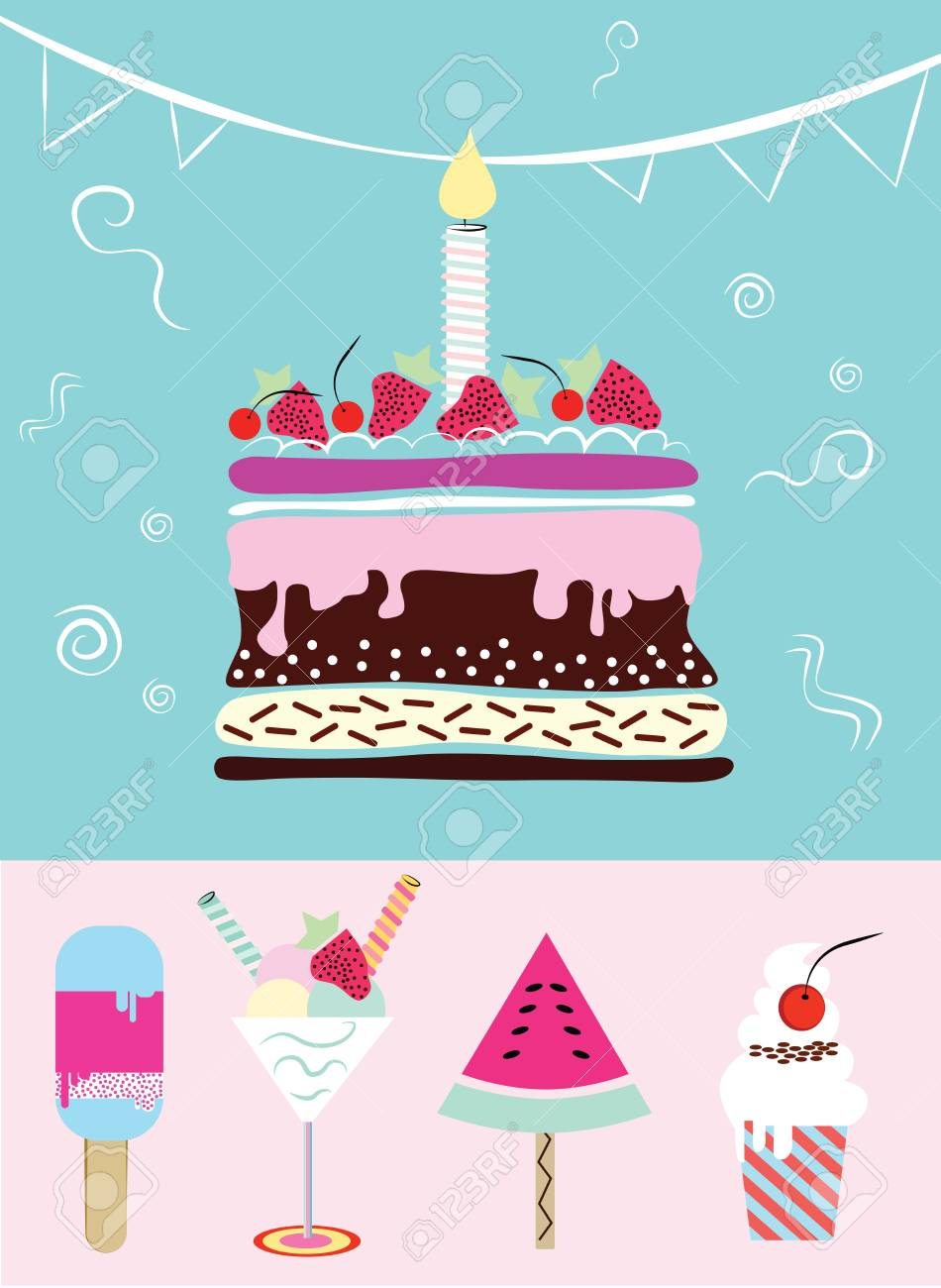 Cake, cupcakes, ice cream .Collection of cute funny birthday...