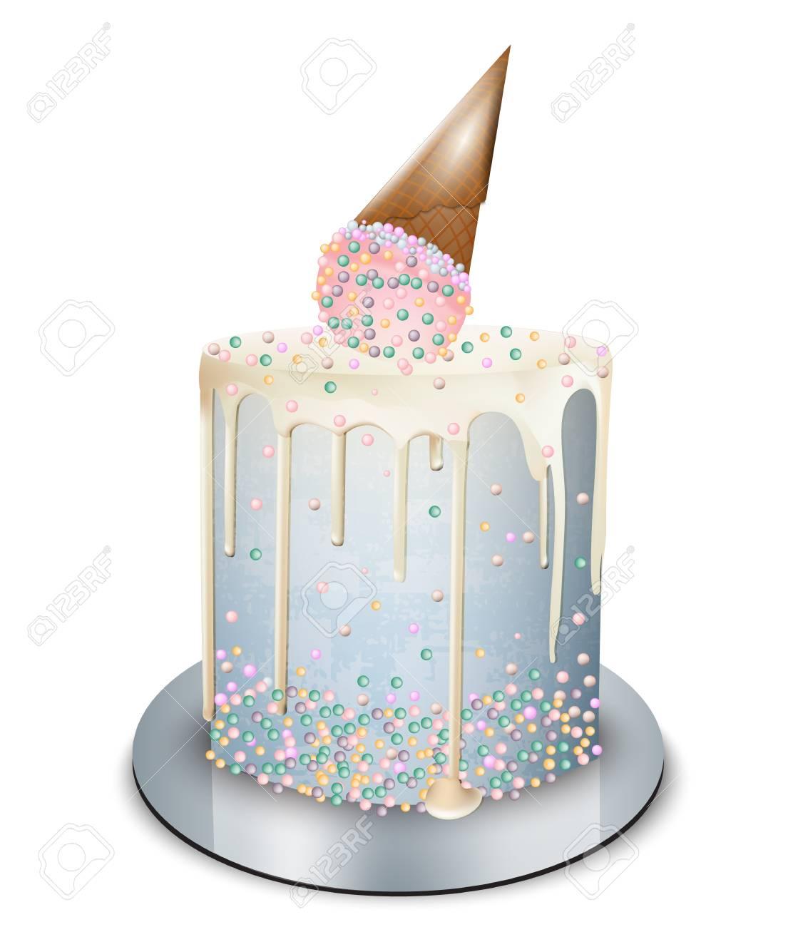 Modern cake ice cream cone on top Vector realistic. Birthday,...