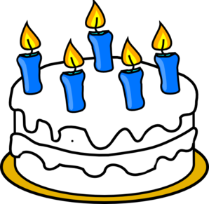 Birthday Cake With Blue Lit Candles Clip Art at Clker.com.