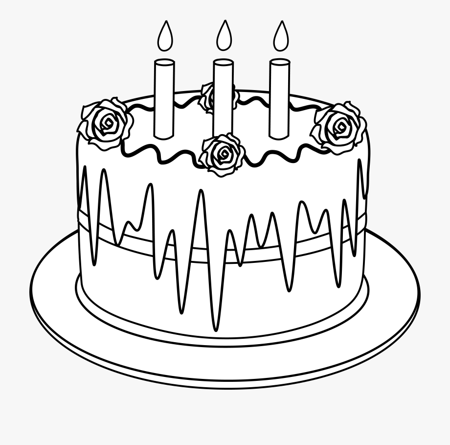 Colorable Line Art Of Birthday Cake.