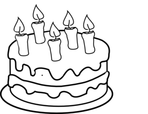 Bday Cake 5 Candles Black And White Clip Art at Clker.com.