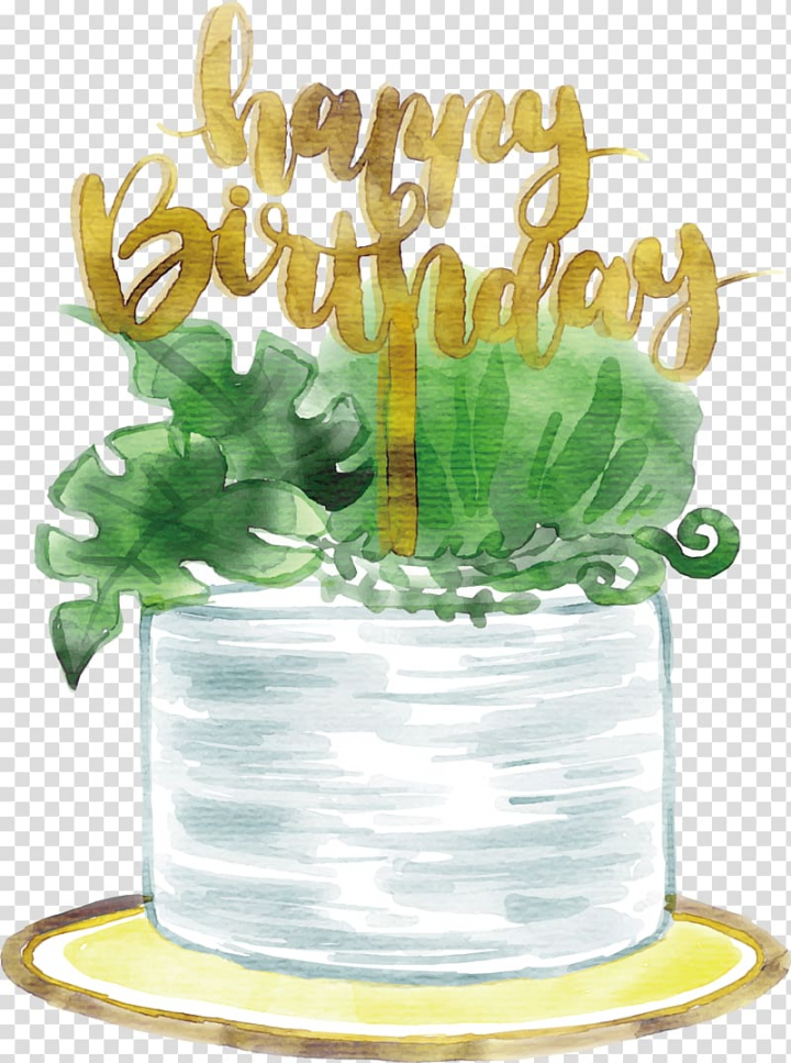 Green leaves illustration with Happy Birthday text overlay.