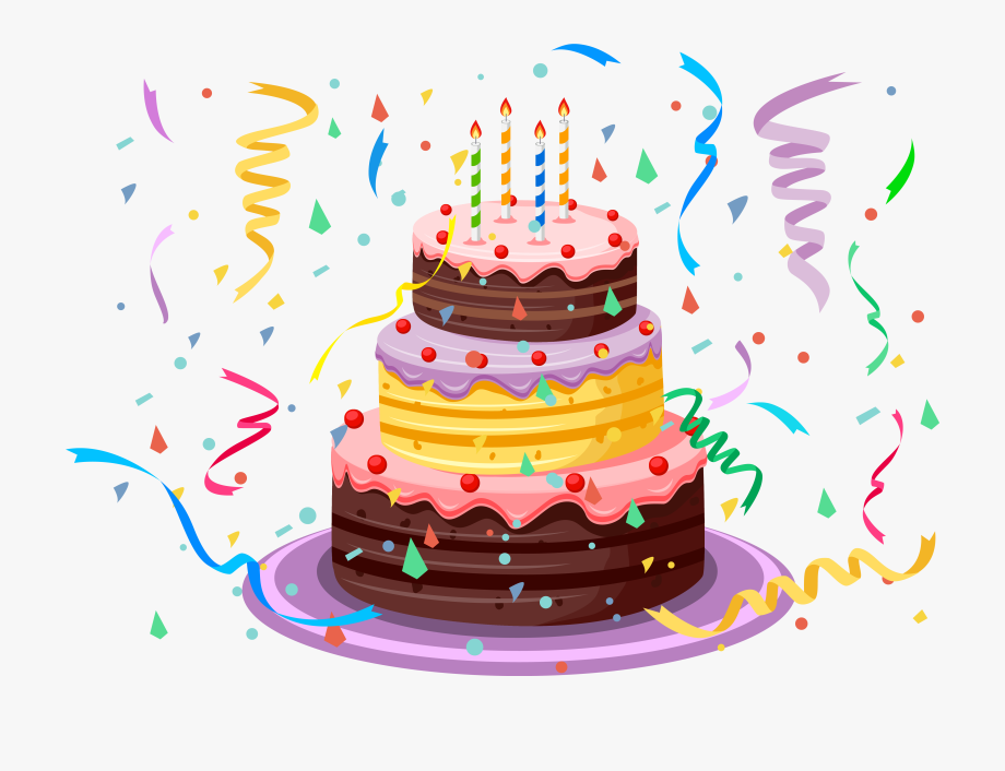 Birthday Cake With Confetti Png Clipart Picture.