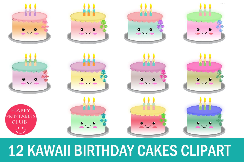 12 Cute Kawaii Birthday Cakes Clipart.