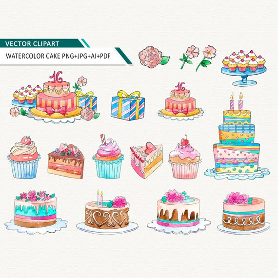 watercolor birthday cake clipart cupcake vector clip art dessert bakery  clip art commercial use OK.