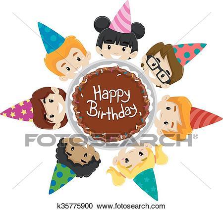 Kids Diversity around Birthday Cake Clipart.
