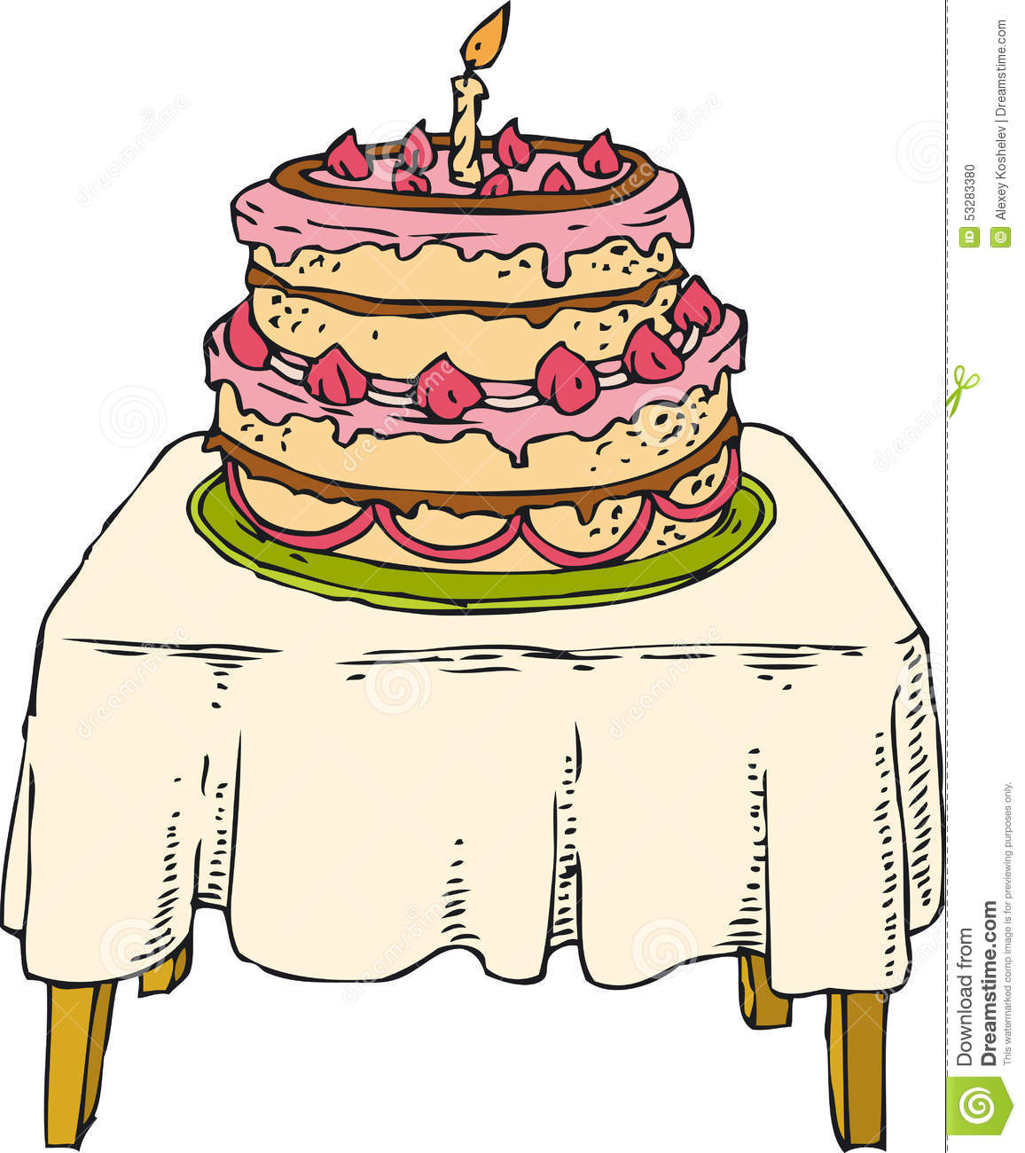 Cake on the table stock vector. Illustration of fire.