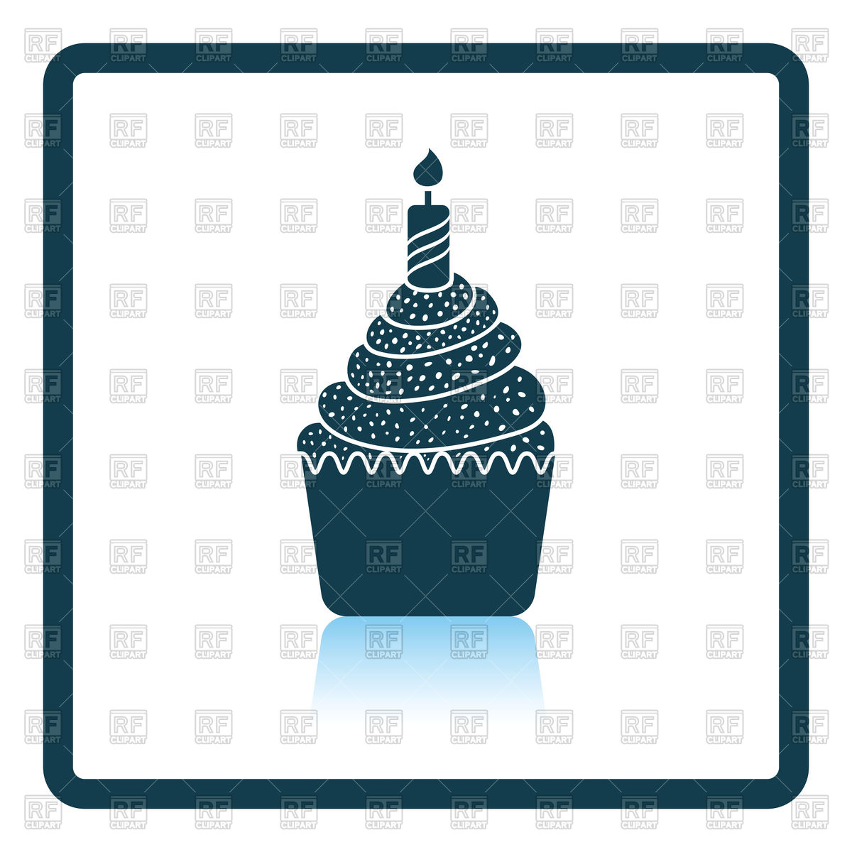 Shadow reflection design of first birthday cake icon Stock Vector Image.