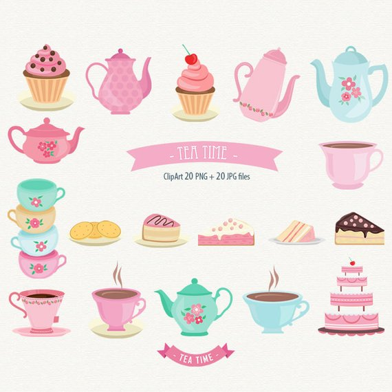 Tea Time Clipart Tea Party Clip art Cake graphic Cupcake.