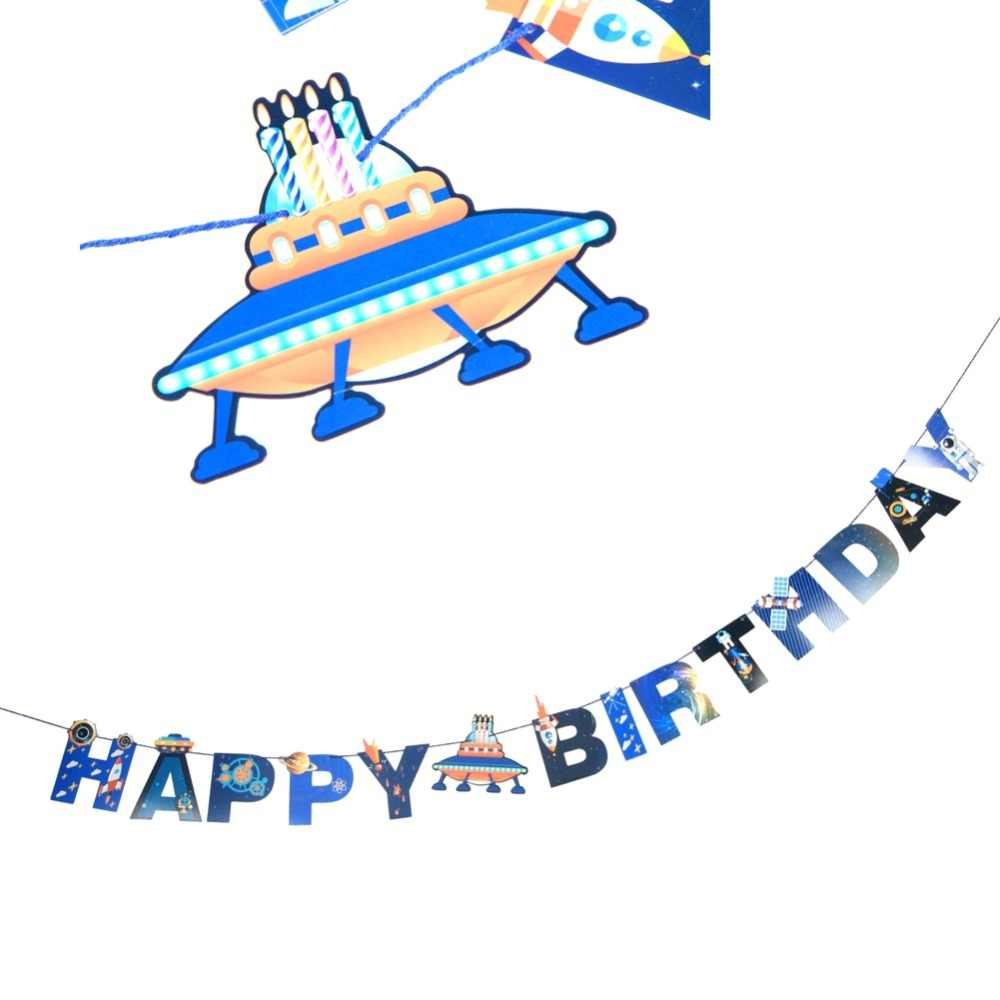 UFO Solar Outer Space Theme Happy Birthday Party Decorations Baby Shower  Spaceship Astronaut Rocket Robot Event Party Supplies.