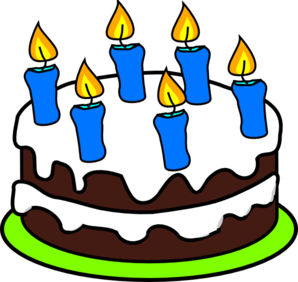 Birthday Cake With 6 Candles Clipart.