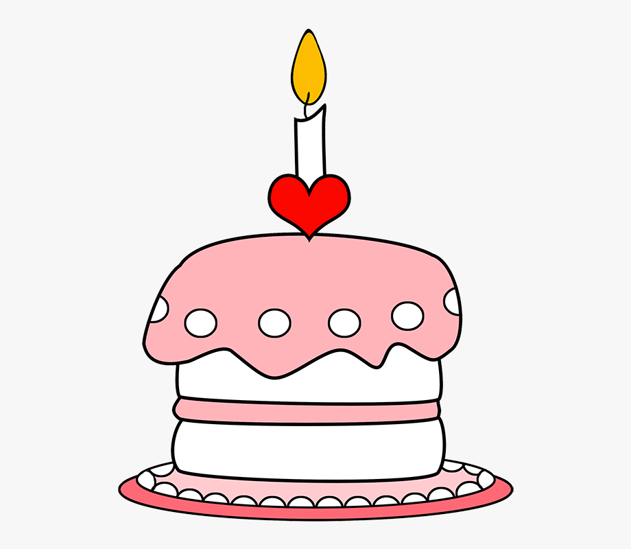 Pink Birthday Cake With One Candle.