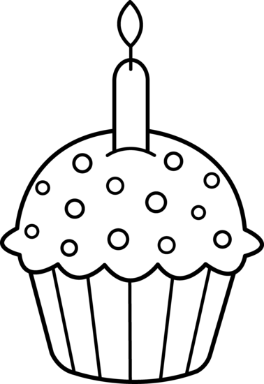 Cupcake With Candle Clipart Black And White.
