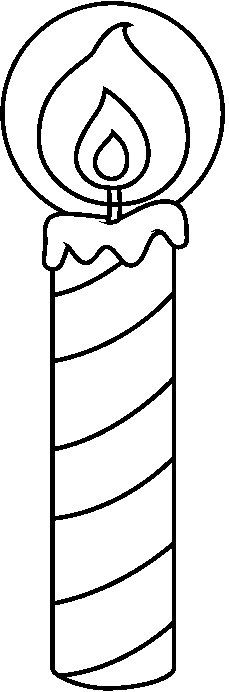 Swirly Birthday Candle Outline Clipart.