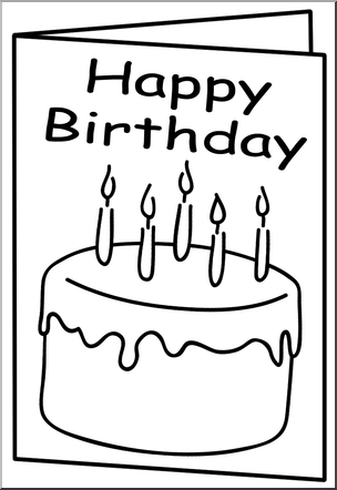 Birthday Card Clipart Black And White.