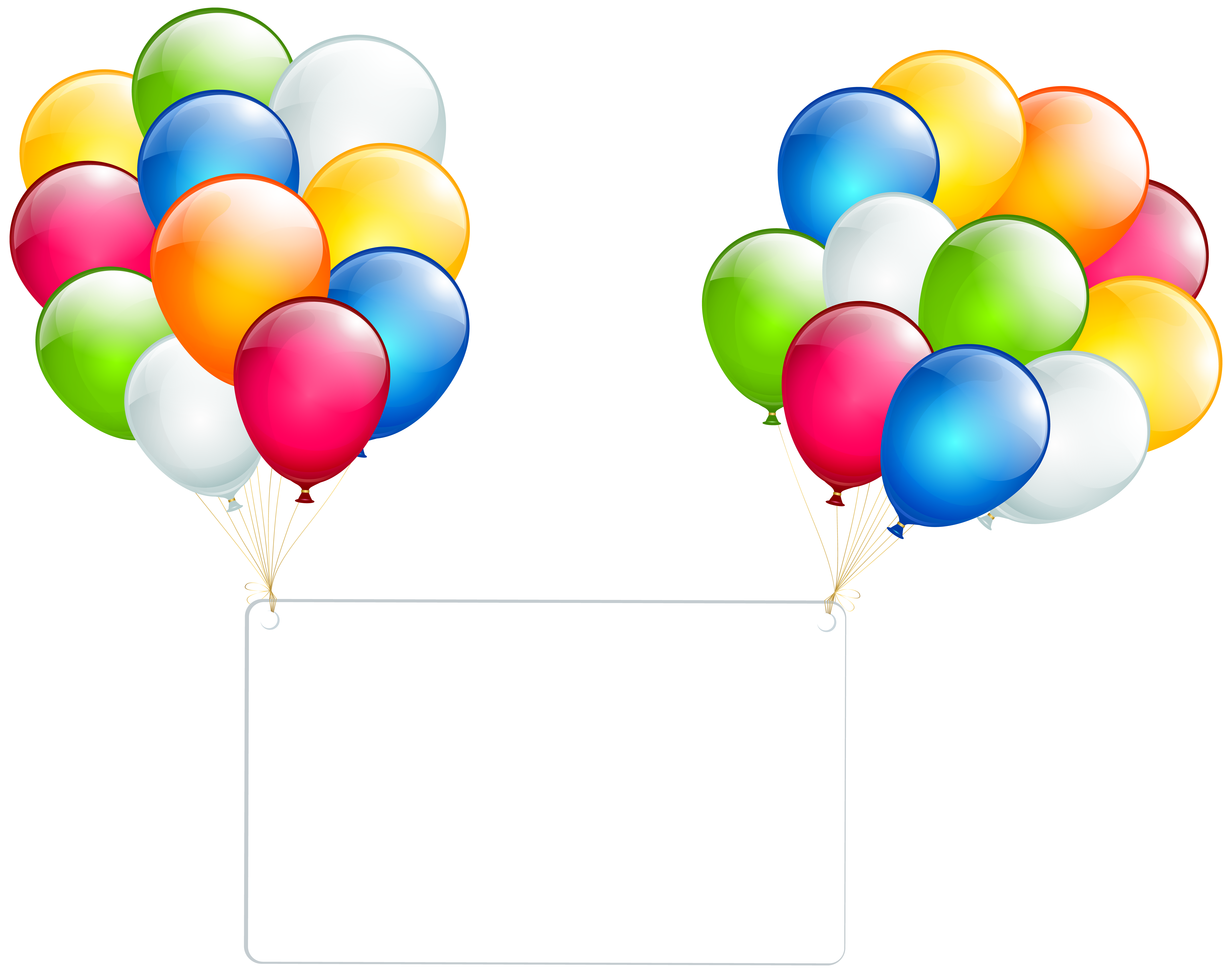Birthday Card with Balloons Transparent PNG Clip Art.
