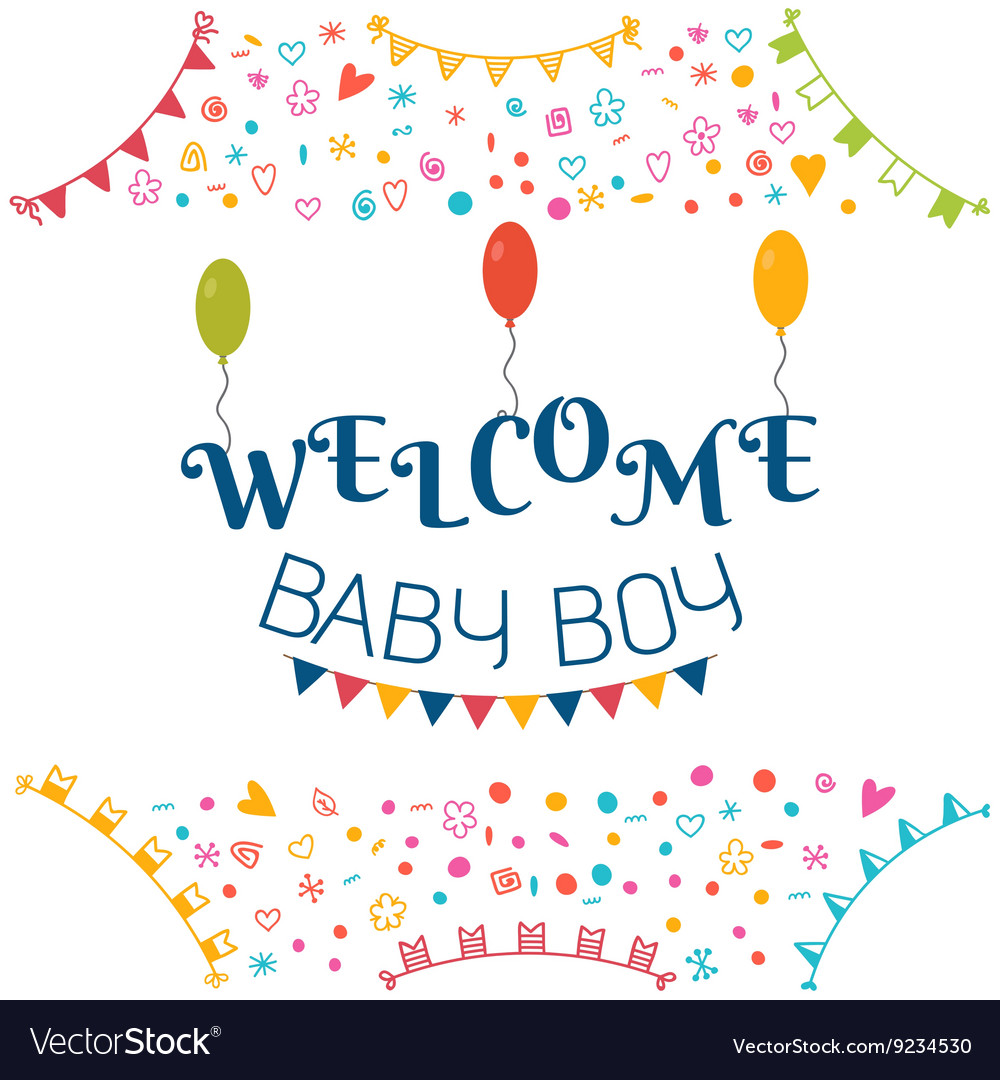 Welcome baby boy Baby shower greeting card Cute.