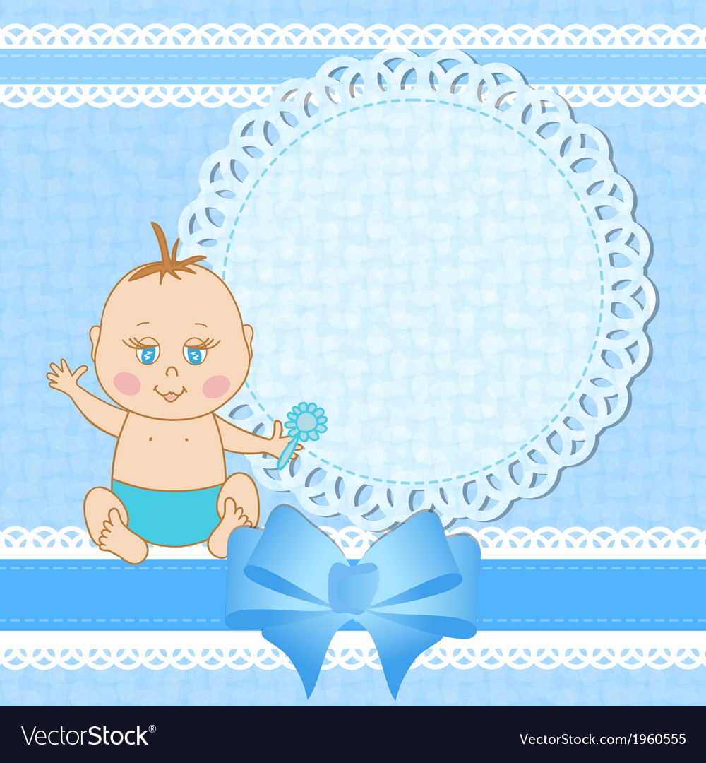 Baby shower greeting card for baby boy.